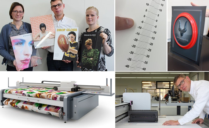 Provtrycken på glas, 3d-effekter med Droptix, partiell lackering och Silk Gloss-läget är exempel som stolt visas fram av marknadschefen Anne Præstegaard, vd Lars Nikolajsen och instruktör Stine Melin.