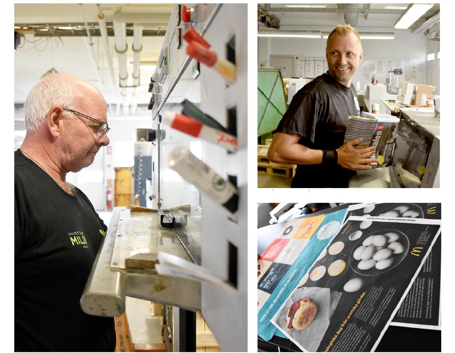 Allan Henriksen, till vänster, säkrar trycket. Henrik Sørensen, till höger, arbetar i bokbinderiet.