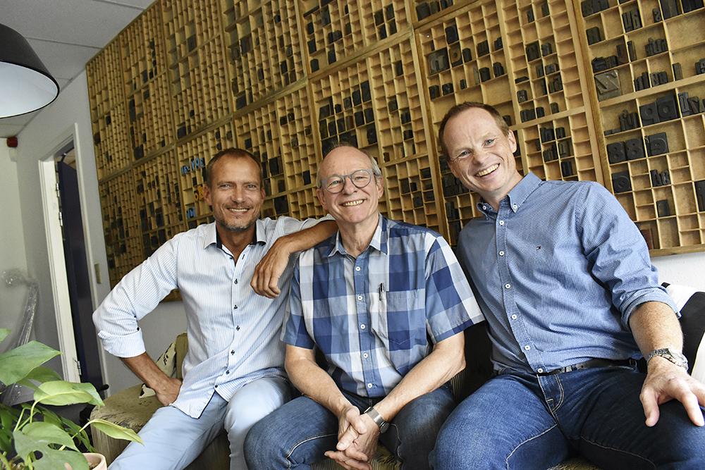 KLS Pureprints försäljningsdirektör Jan Nielsen, vd:n Knud Erik Larsen och Kasper Larsen, kommersiell direktör.