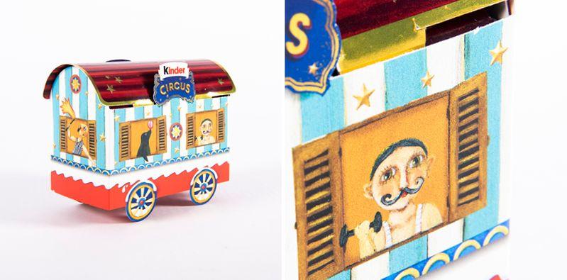En kartong för godistillverkaren Kinder som har tryckts med lack för haptiska effekter som simulering för prägling i massproduktion.