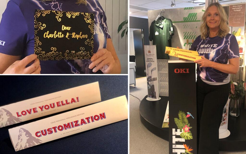 Pernilla Verpers, marknadsansvarig i Norden för OKIs grafiska sortiment, var på plats under och visade upp möjligheterna med OKIs maskiner.