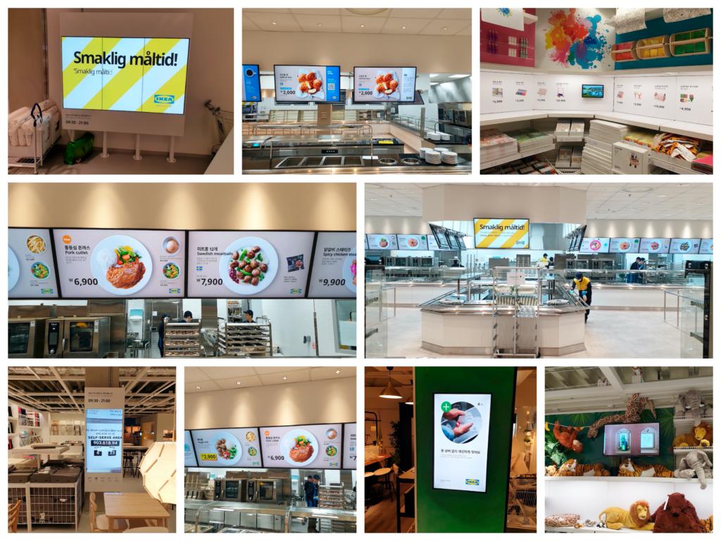 I dag finns det skärmar i varuhuset för olika ändamål, bland annat för att vägleda kunder i varuhusen.