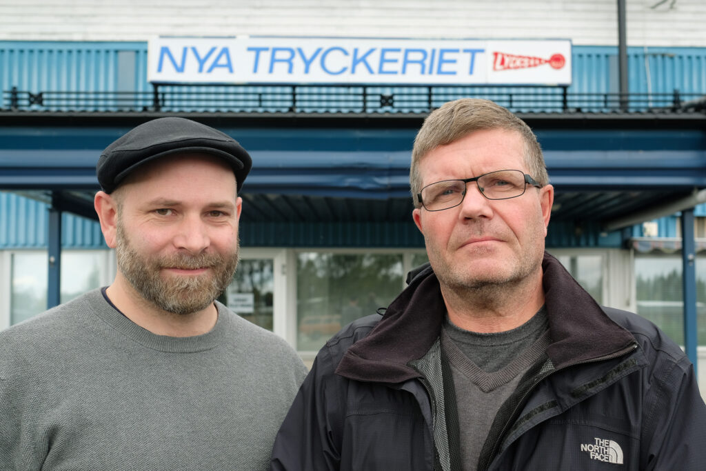 Lennie Nylén, vd Original Tryckeri Norrland AB bredvid Roger Broberg, tidigare vd på Nya Tryckeriet i Lycksele. Foto: Pressbild